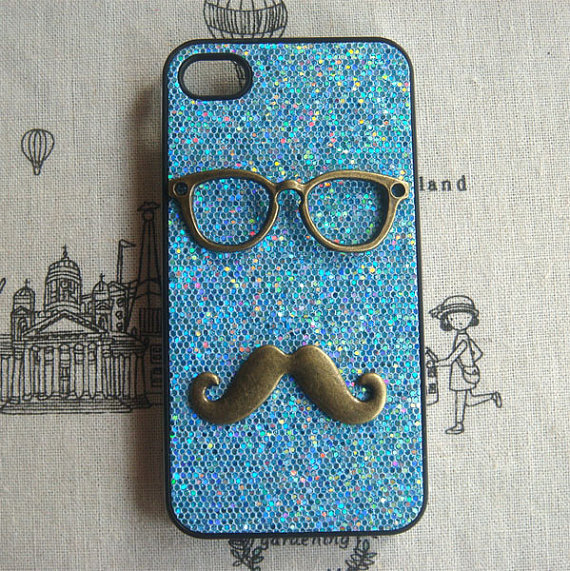 new arrival 01a6d 2dd8c Steampunk Glasses Mustache Blue Bling Glitter Hard Case For Apple IPhone 4  Case IPhone 4s Case Cover
