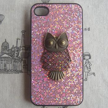 SALE - Steampunk Owl bling glitter hard case For Apple iPhone 4 case iPhone 4s case cover